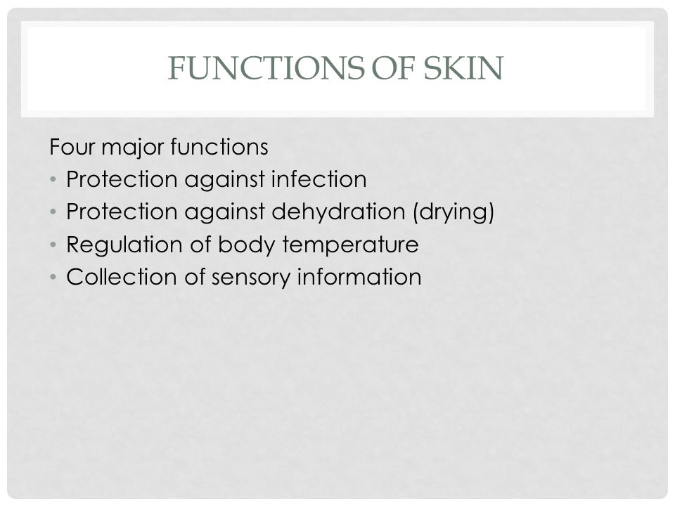 FUNCTIONS OF SKIN Four major functions Protection against infection Protection against dehydration (drying) Regulation of body temperature Collection of sensory information