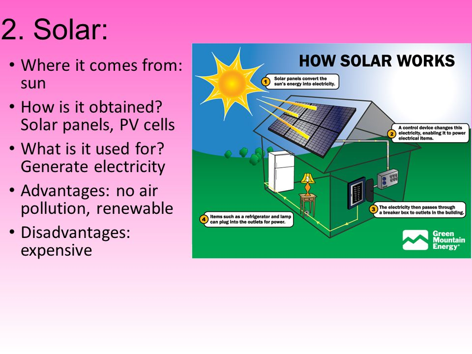 2. Solar: Where it comes from: sun How is it obtained.