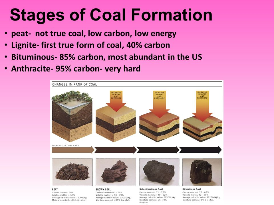 Stages of Coal Formation peat- not true coal, low carbon, low energy Lignite- first true form of coal, 40% carbon Bituminous- 85% carbon, most abundant in the US Anthracite- 95% carbon- very hard