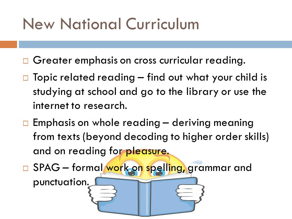 New National Curriculum  Greater emphasis on cross curricular reading.