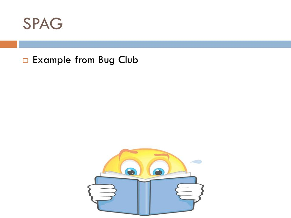 SPAG  Example from Bug Club