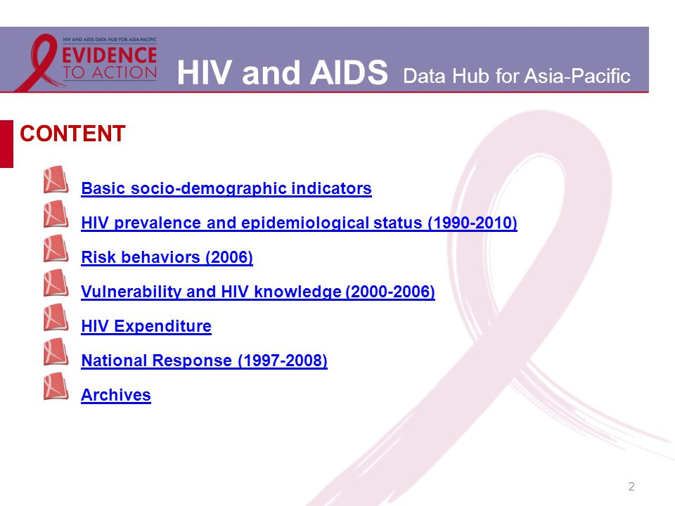 HIV and AIDS Data Hub for Asia-Pacific 2 Basic socio-demographic indicators HIV prevalence and epidemiological status (1990-2010) Risk behaviors (2006) Vulnerability and HIV knowledge (2000-2006) HIV Expenditure National Response (1997-2008) Archives CONTENT