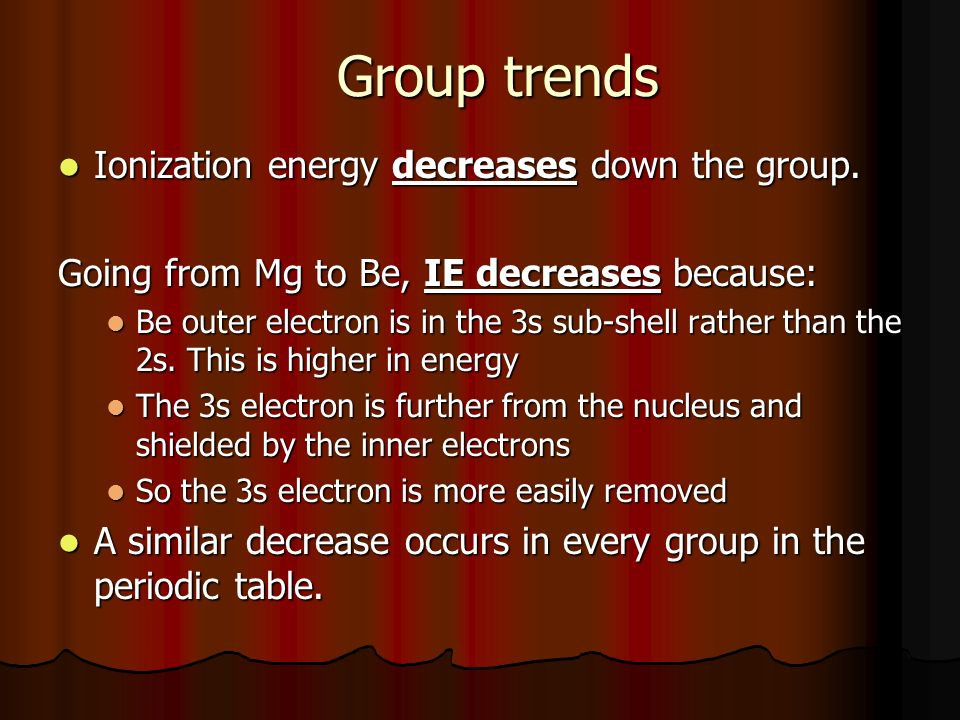 Group trends Ionization energy decreases down the group.