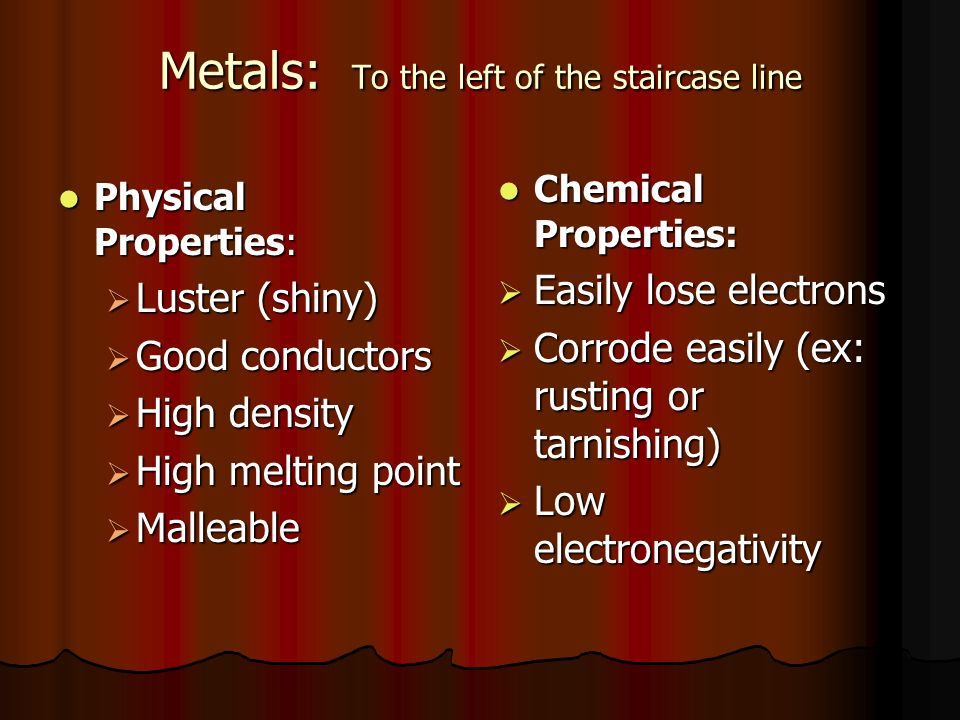 Metals: To the left of the staircase line Physical Properties: Physical Properties:  Luster (shiny)  Good conductors  High density  High melting point  Malleable Chemical Properties: Chemical Properties:  Easily lose electrons  Corrode easily (ex: rusting or tarnishing)  Low electronegativity