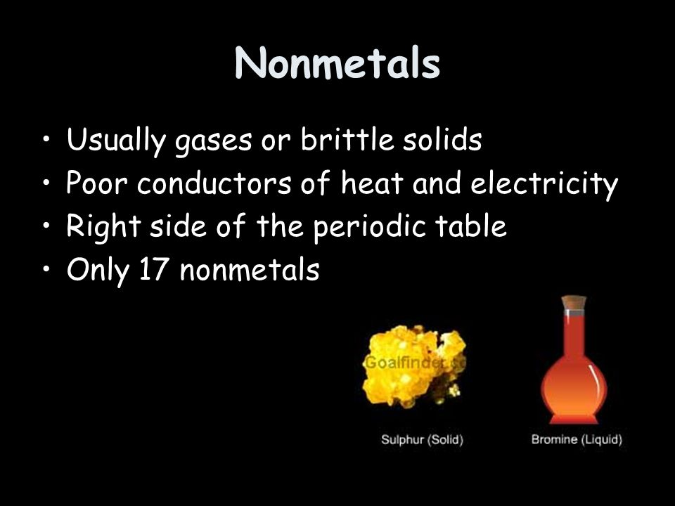 Nonmetals Usually gases or brittle solids Poor conductors of heat and electricity Right side of the periodic table Only 17 nonmetals