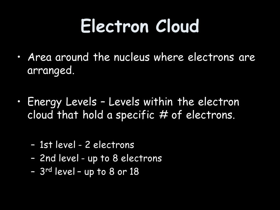Electron Cloud Area around the nucleus where electrons are arranged.