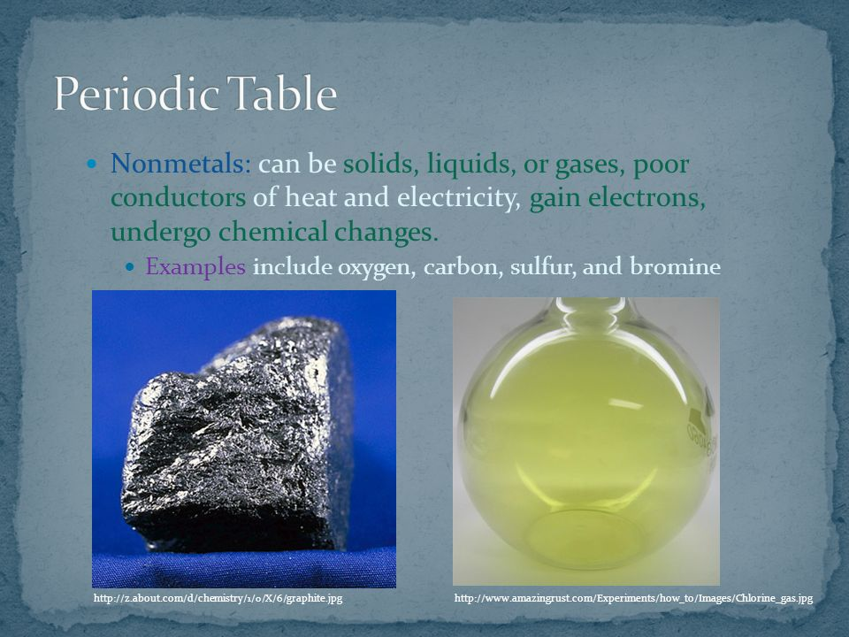 Nonmetals: can be solids, liquids, or gases, poor conductors of heat and electricity, gain electrons, undergo chemical changes.
