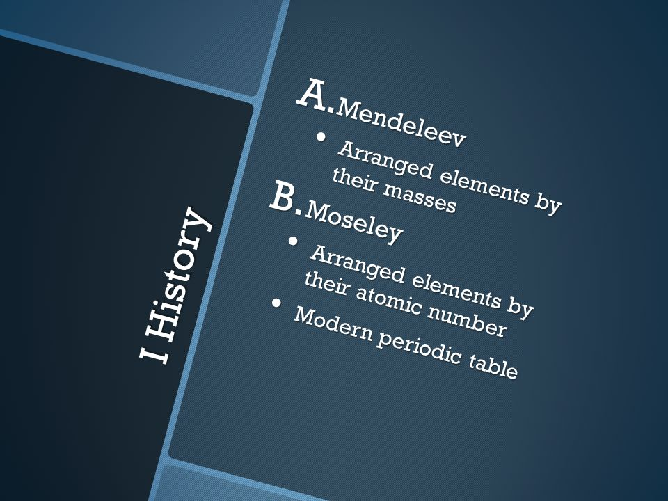 I History A. Mendeleev Arranged elements by their masses Arranged elements by their masses B.