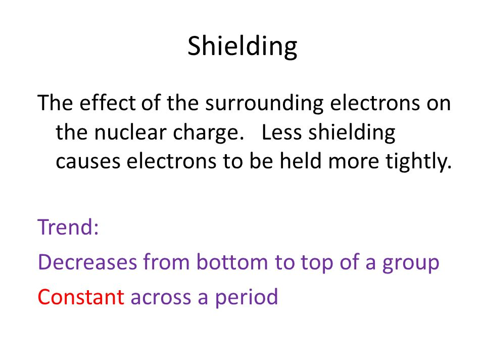 Shielding The effect of the surrounding electrons on the nuclear charge.