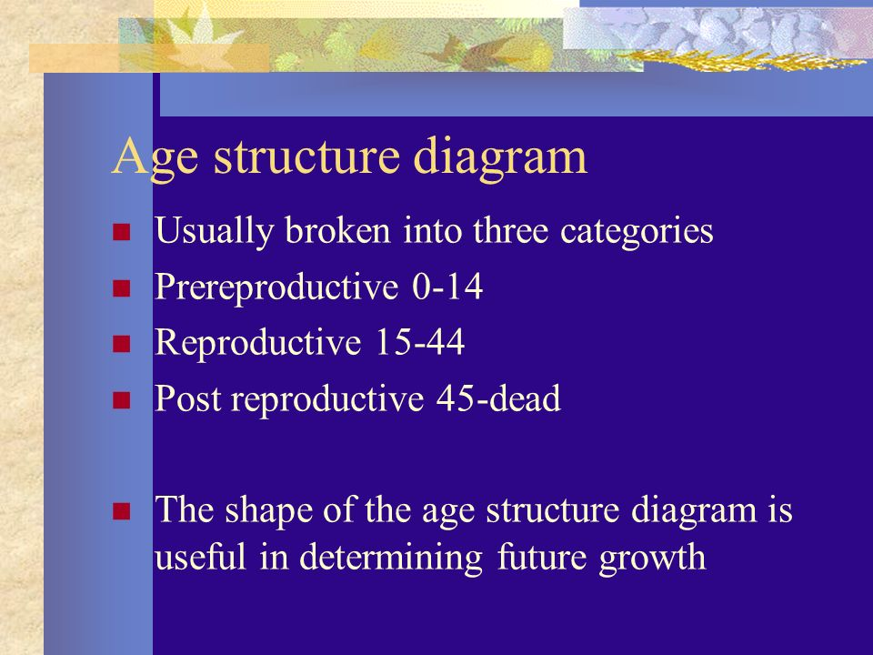 Age structure diagram Usually broken into three categories Prereproductive 0-14 Reproductive Post reproductive 45-dead The shape of the age structure diagram is useful in determining future growth