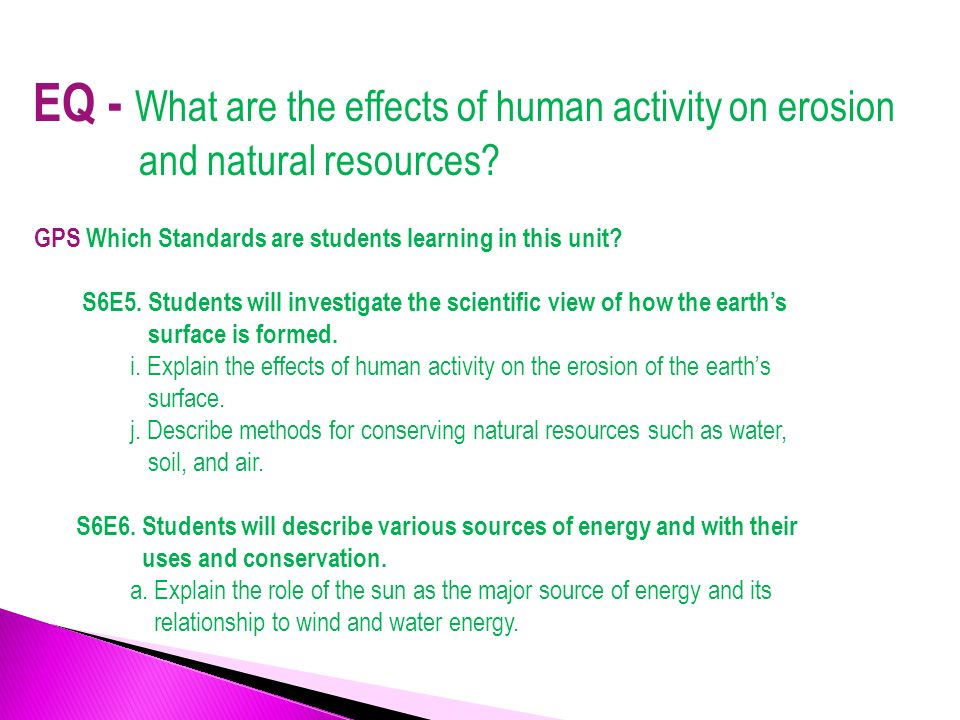 Effects of human activities on natural resources