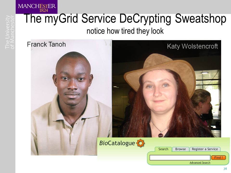 34 The myGrid Service DeCrypting Sweatshop notice how tired they look Franck Tanoh Katy Wolstencroft