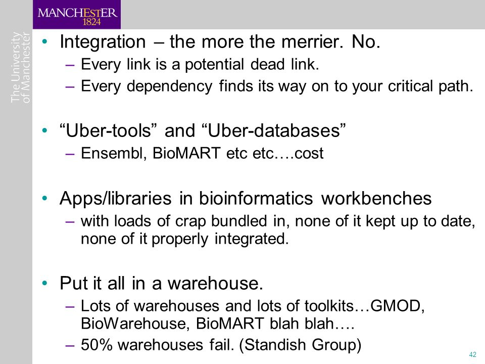 42 Integration – the more the merrier. No. –Every link is a potential dead link.