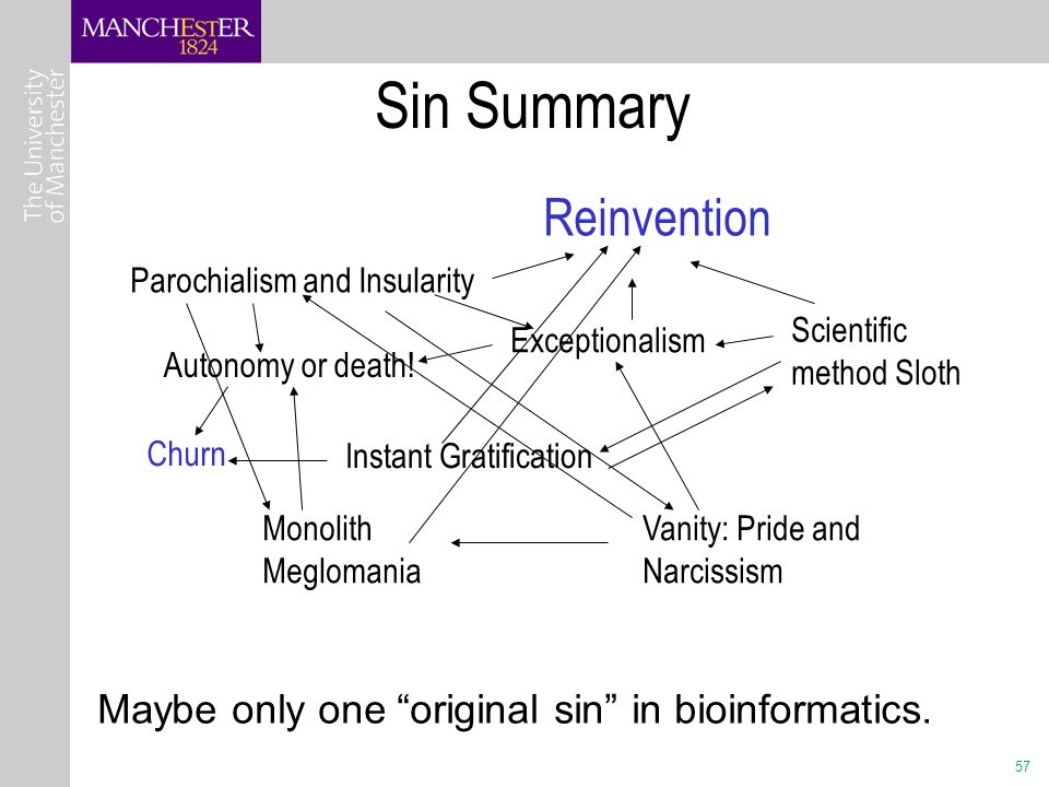 57 Sin Summary Maybe only one original sin in bioinformatics.