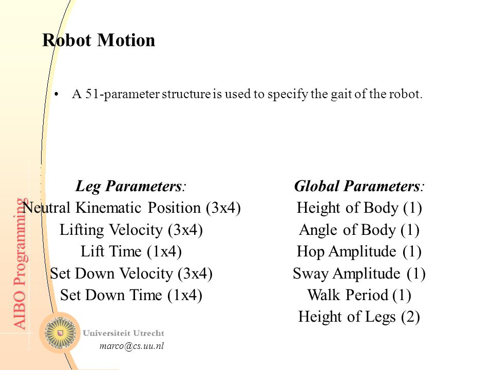 AIBO Programming AIBO Programming Introduction to Mobile Robotics ...