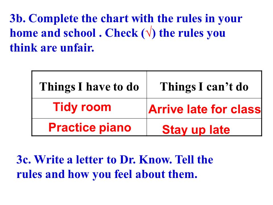 3b. Complete the chart with the rules in your home and school.