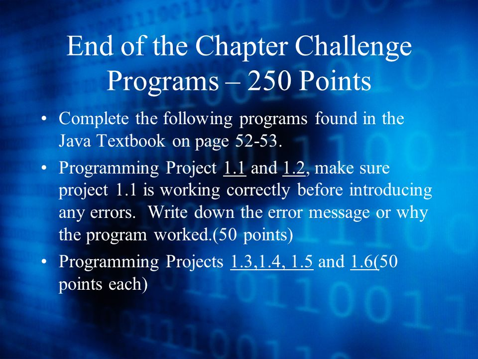 End of the Chapter Challenge Programs – 250 Points Complete the following programs found in the Java Textbook on page