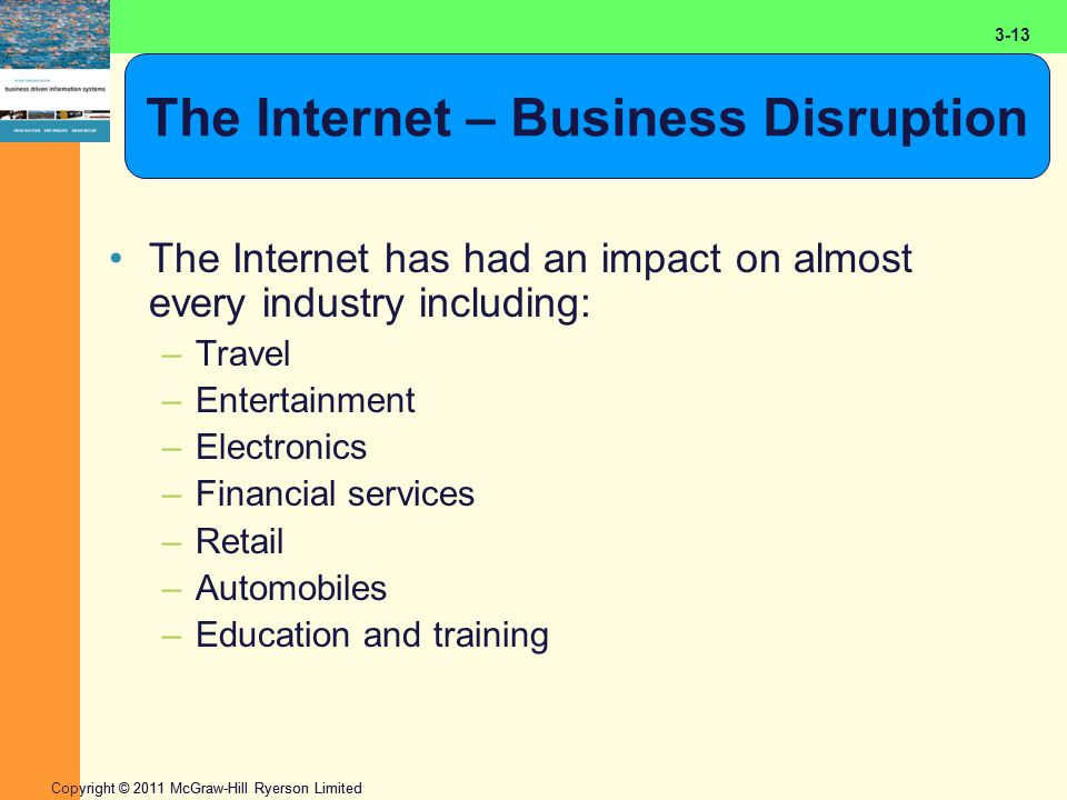 2-13 Copyright © 2011 McGraw-Hill Ryerson Limited 3-13 The Internet – Business Disruption The Internet has had an impact on almost every industry including: –Travel –Entertainment –Electronics –Financial services –Retail –Automobiles –Education and training