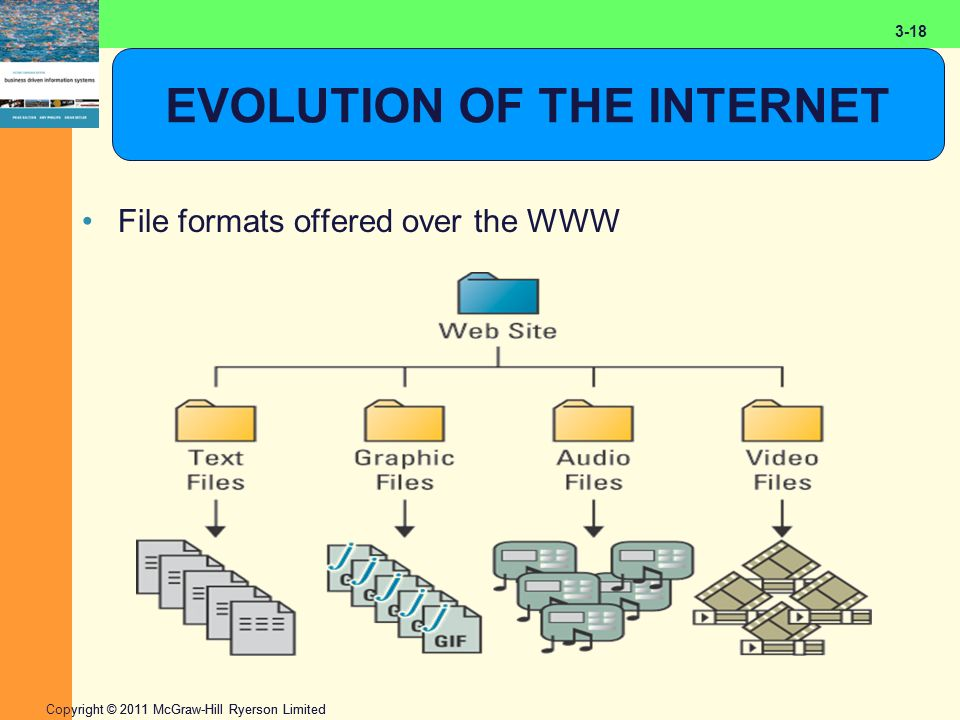2-18 Copyright © 2011 McGraw-Hill Ryerson Limited 3-18 EVOLUTION OF THE INTERNET File formats offered over the WWW