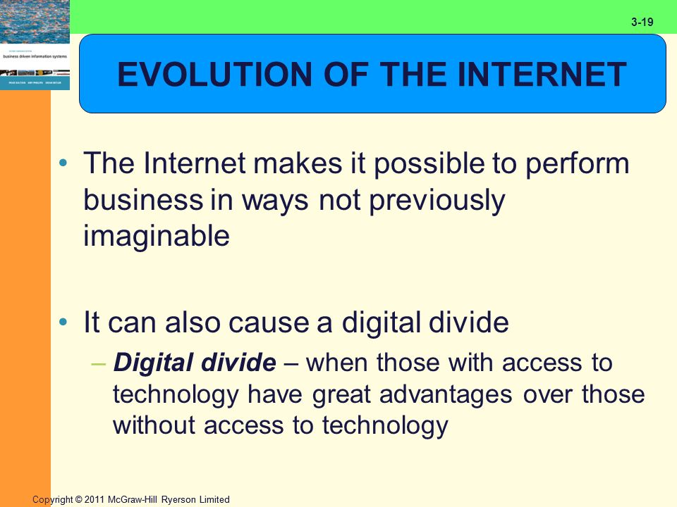 2-19 Copyright © 2011 McGraw-Hill Ryerson Limited 3-19 EVOLUTION OF THE INTERNET The Internet makes it possible to perform business in ways not previously imaginable It can also cause a digital divide –Digital divide – when those with access to technology have great advantages over those without access to technology