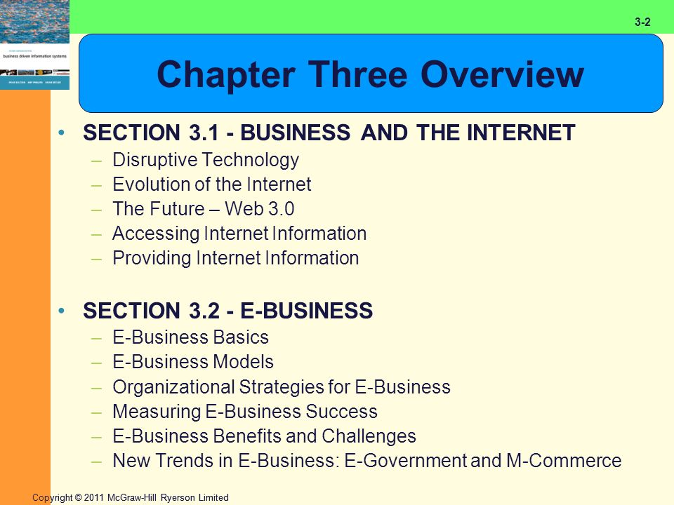 2-2 Copyright © 2011 McGraw-Hill Ryerson Limited 3-2 Chapter Three Overview SECTION 3.1 - BUSINESS AND THE INTERNET –Disruptive Technology –Evolution