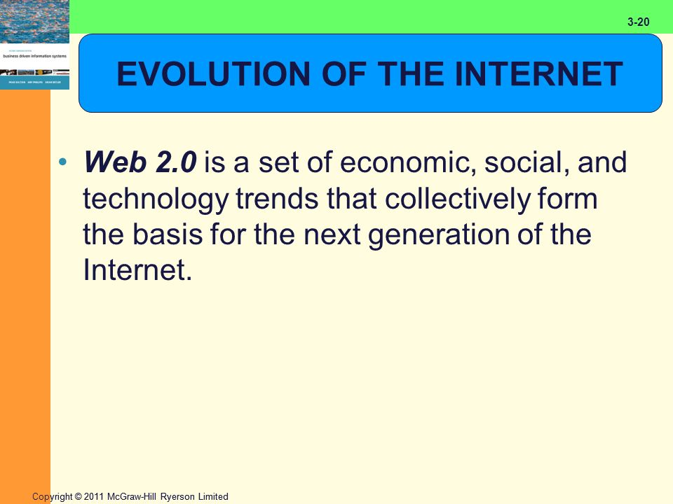 2-20 Copyright © 2011 McGraw-Hill Ryerson Limited 3-20 EVOLUTION OF THE INTERNET Web 2.0 is a set of economic, social, and technology trends that collectively form the basis for the next generation of the Internet.