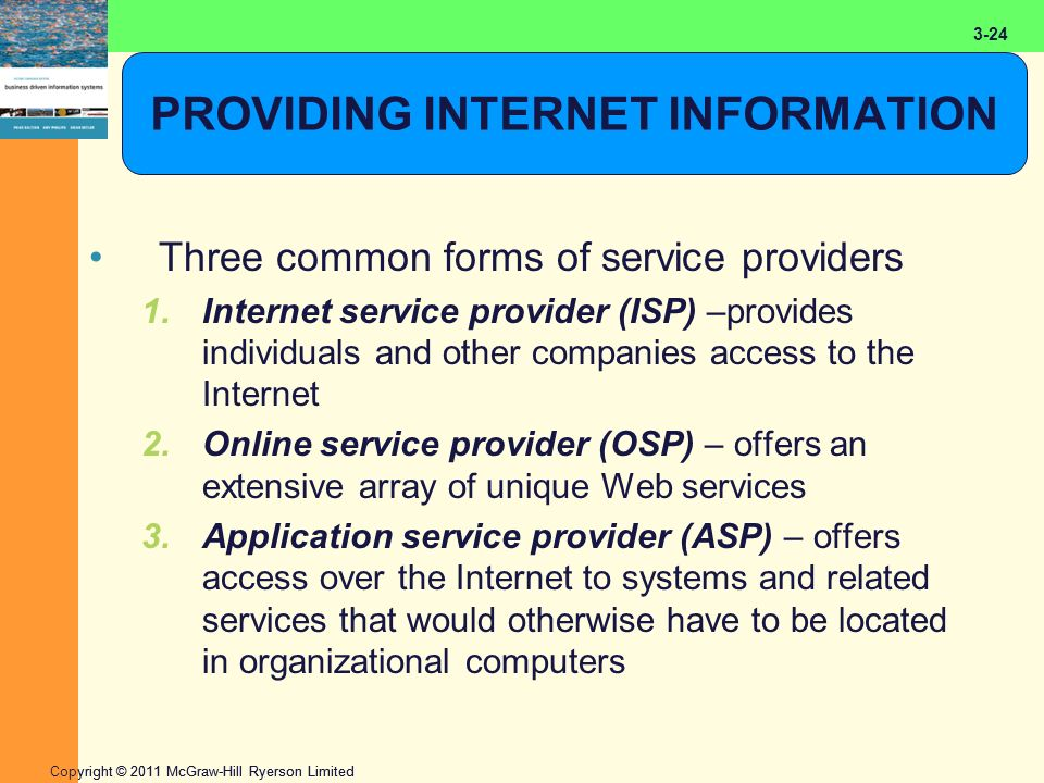2-24 Copyright © 2011 McGraw-Hill Ryerson Limited 3-24 PROVIDING INTERNET INFORMATION Three common forms of service providers 1.Internet service provi