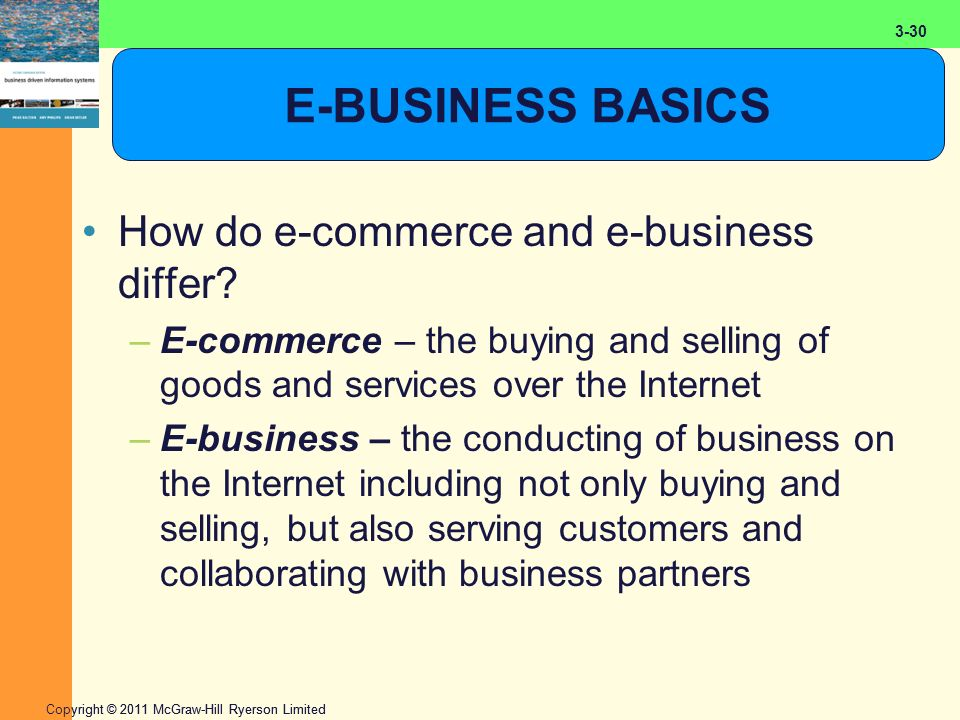 2-30 Copyright © 2011 McGraw-Hill Ryerson Limited 3-30 E-BUSINESS BASICS How do e-commerce and e-business differ? –E-commerce – the buying and selling