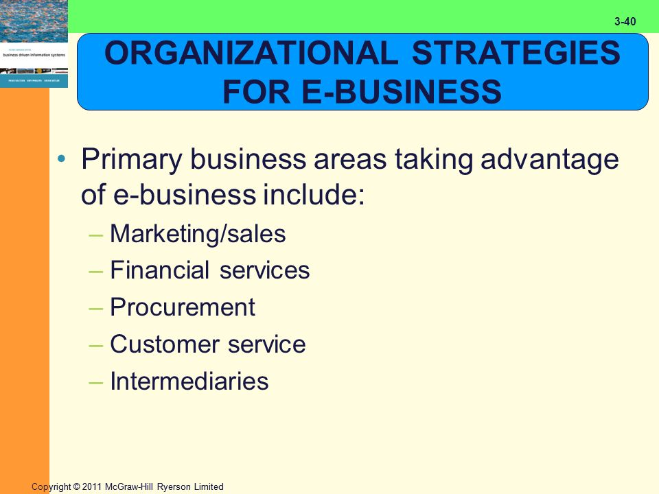 2-40 Copyright © 2011 McGraw-Hill Ryerson Limited 3-40 ORGANIZATIONAL STRATEGIES FOR E-BUSINESS Primary business areas taking advantage of e-business include: –Marketing/sales –Financial services –Procurement –Customer service –Intermediaries