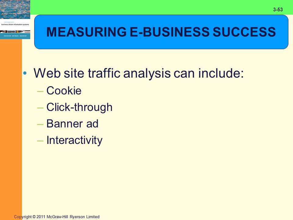 2-53 Copyright © 2011 McGraw-Hill Ryerson Limited 3-53 MEASURING E-BUSINESS SUCCESS Web site traffic analysis can include: –Cookie –Click-through –Ban