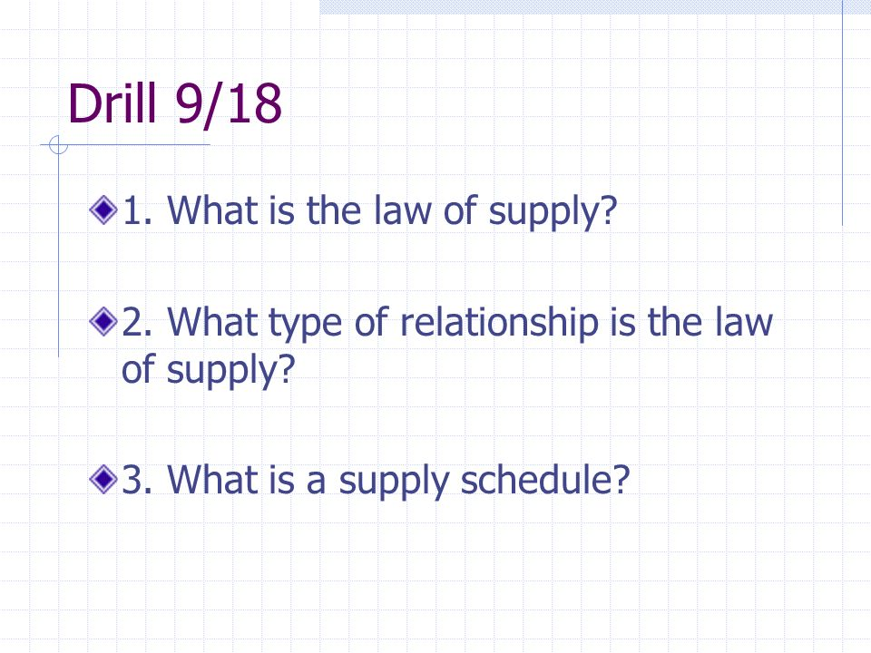 Drill 9/18 1. What is the law of supply. 2. What type of relationship is the law of supply.