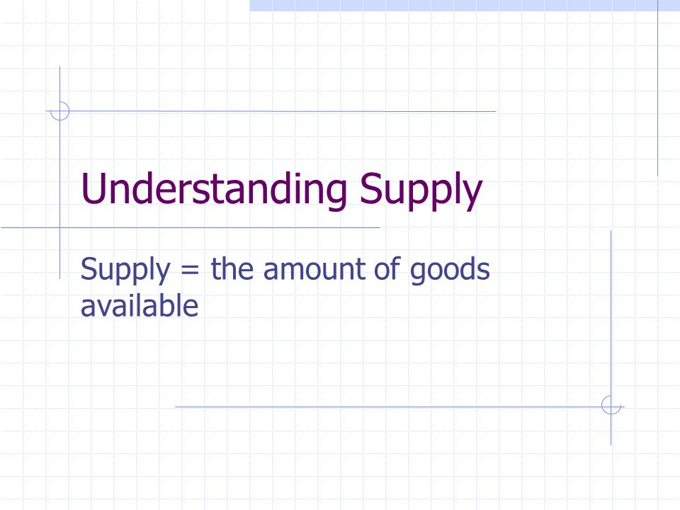 Understanding Supply Supply = the amount of goods available