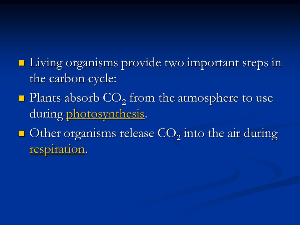 Living organisms provide two important steps in the carbon cycle: Living organisms provide two important steps in the carbon cycle: Plants absorb CO 2 from the atmosphere to use during photosynthesis.