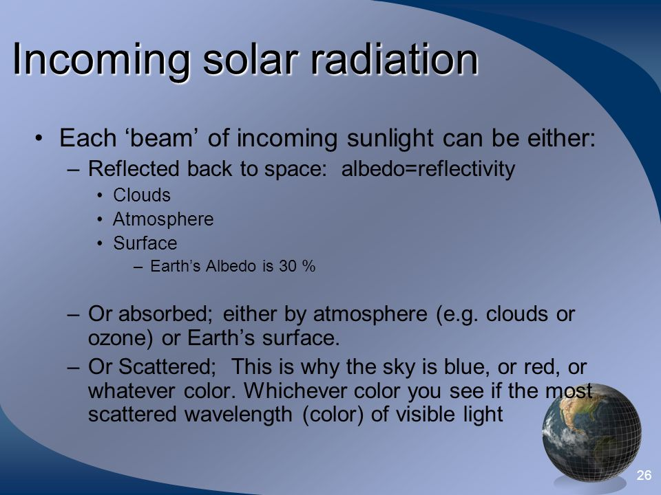 25 Incoming solar radiation Each 'beam' of incoming sunlight can be either: –Reflected back to space: ________ Clouds Atmosphere Surface –Earth's Albedo is ___% –Or absorbed; either by atmosphere (e.g.