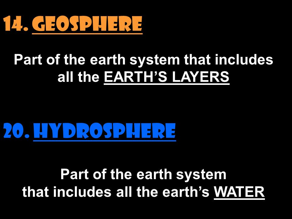 14. GEOSPHERE Part of the earth system that includes all the EARTH'S LAYERS 20.