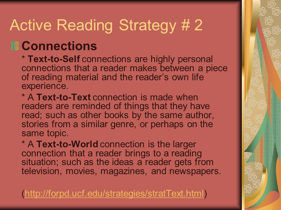 Active Reading Strategy # 1 Previewing * Involves reviewing titles, section headings, and photo captions to get a sense of the structure and content of a reading selection (