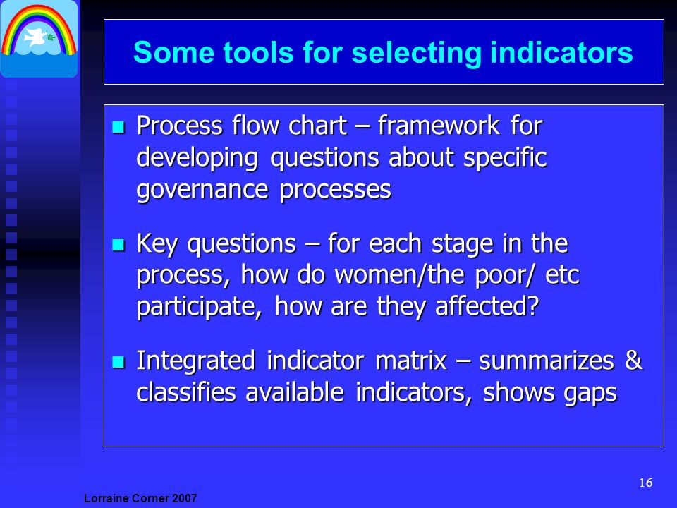 Lorraine Corner Some tools for selecting indicators n Process flow chart – framework for developing questions about specific governance processes n Key questions – for each stage in the process, how do women/the poor/ etc participate, how are they affected.