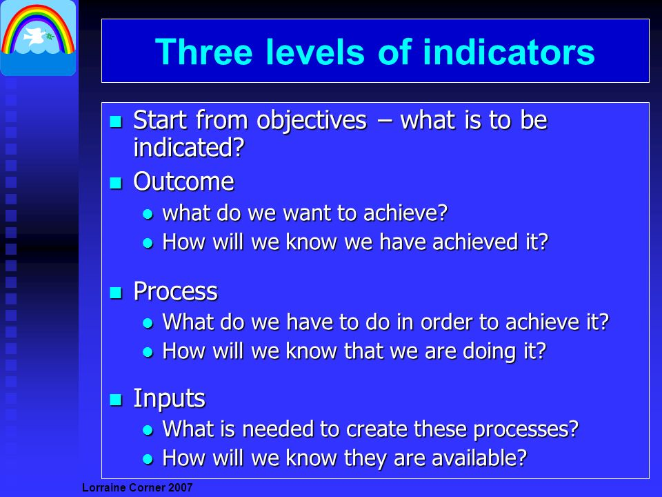 Lorraine Corner Three levels of indicators n Start from objectives – what is to be indicated.