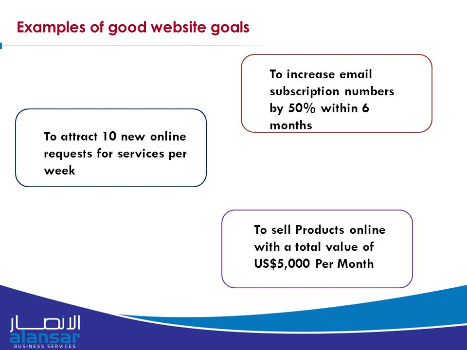 Examples of good website goals To increase  subscription numbers by 50% within 6 months To attract 10 new online requests for services per week To sell Products online with a total value of US$5,000 Per Month
