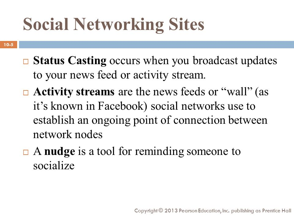  Status Casting occurs when you broadcast updates to your news feed or activity stream.