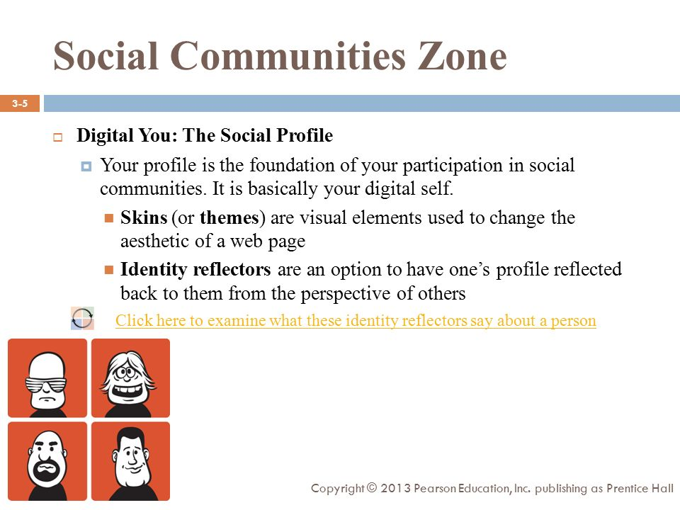 Social Communities Zone  Digital You: The Social Profile  Your profile is the foundation of your participation in social communities.