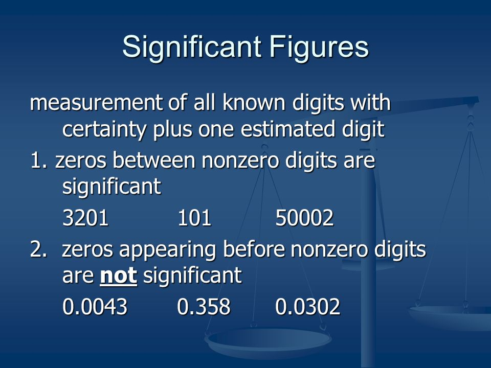 Significant Figures measurement of all known digits with certainty plus one estimated digit 1.