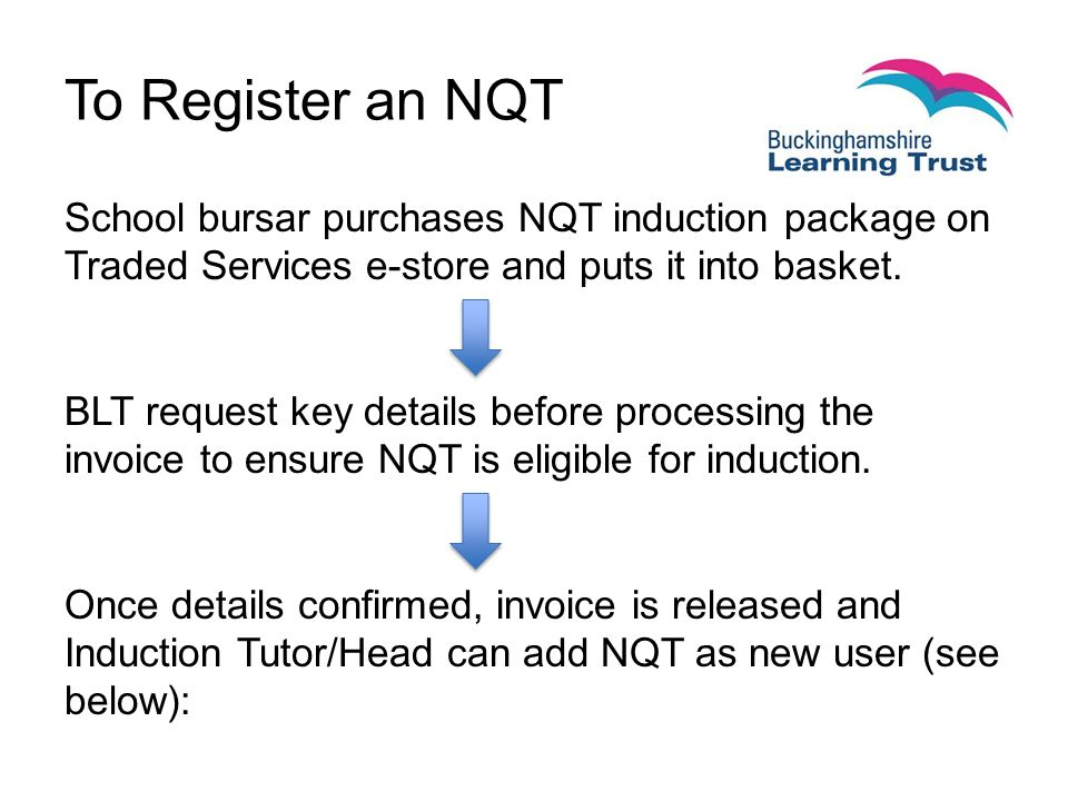 To Register an NQT School bursar purchases NQT induction package on Traded Services e-store and puts it into basket.
