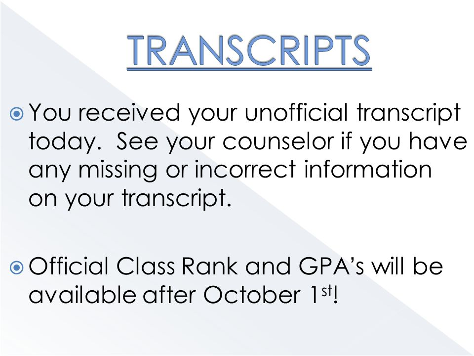  You received your unofficial transcript today.