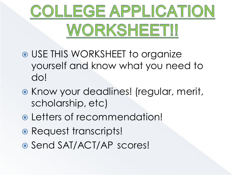  USE THIS WORKSHEET to organize yourself and know what you need to do.