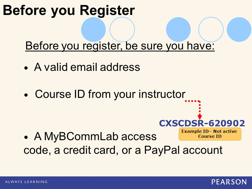 Before you register, be sure you have: A valid  address Course ID from your instructor A MyBCommLab access code, a credit card, or a PayPal account CXSCDSR Before you Register Example ID– Not active Course ID Example ID– Not active Course ID