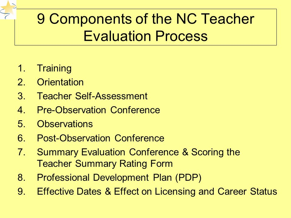 9 Components of the NC Teacher Evaluation Process 1.Training 2.Orientation 3.Teacher Self-Assessment 4.Pre-Observation Conference 5.Observations 6.Post-Observation Conference 7.Summary Evaluation Conference & Scoring the Teacher Summary Rating Form 8.Professional Development Plan (PDP) 9.Effective Dates & Effect on Licensing and Career Status