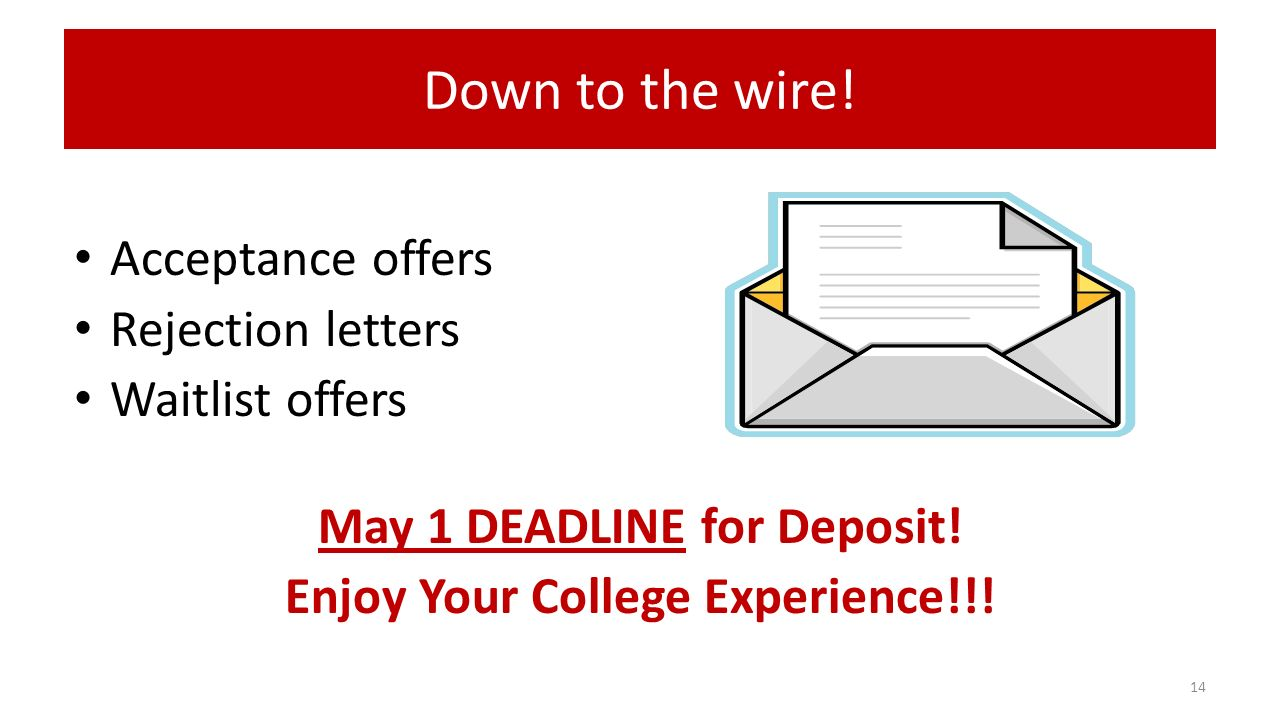 Down to the wire. Acceptance offers Rejection letters Waitlist offers May 1 DEADLINE for Deposit.