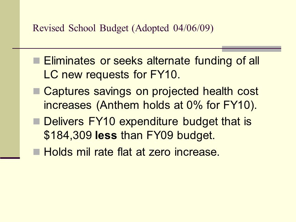 Revised School Budget (Adopted 04/06/09) Eliminates or seeks alternate funding of all LC new requests for FY10.