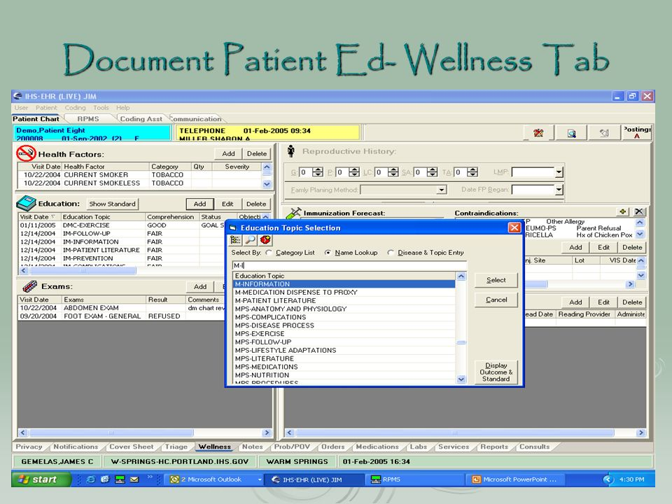 Document Patient Ed- Wellness Tab